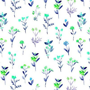 Sweet meadow in mint and blue || watercolor floral nature pattern
