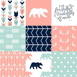 adventure woodland wholecloth - fearfully and wonderfully made || coral, dark mint, navy C18BS