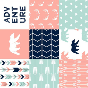 adventure woodland wholecloth - fearfully and wonderfully made || coral, dark mint, navy (90) C18BS
