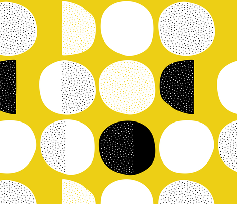 Abstract moon cycle Scandinavian minimal retro circle design gender neutral yellow jumbo fabric by littlesmilemakers on Spoonflower - custom fabric