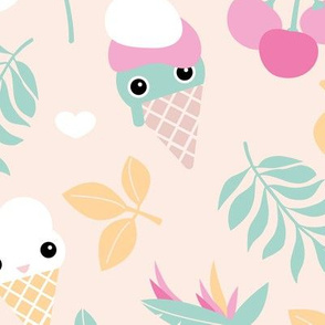 Cute kawaii ice cream flowers and cherry blossom leaves summer design pastel girls jumbo