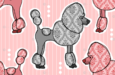 Prized Poodles - Pink & Pewter (Client Requested Sizing)