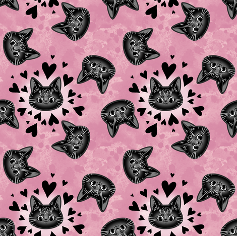 black cat heads with hearts on watercolour fabric by blacklilypie on Spoonflower - custom fabric