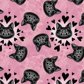 black cat heads with hearts on watercolour
