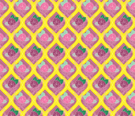 Belles Fleurs - Enter the Rose Garden, art deco 05 fabric by quirkysewing on Spoonflower - custom fabric