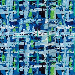 Abstract Art Blue and Green Plaid