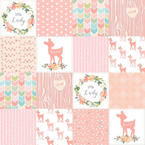 """4.5"""" Baby Girl Wholecloth - Little Lady - Peach Patchwork Floral Quilt Top"""