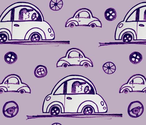 A trip, a  driver and wheels fabric by _la_corneja on Spoonflower - custom fabric