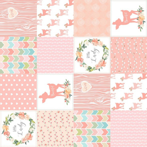 "4.5"" Baby Girl Wholecloth - Little Lady - Peach Patchwork Floral Quilt Top (rotated)"