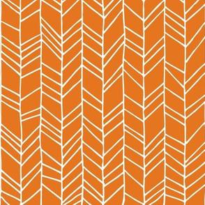 Russet Orange Crazy Chevron Herringbone Hand Drawn Geometric Pattern GingerLous