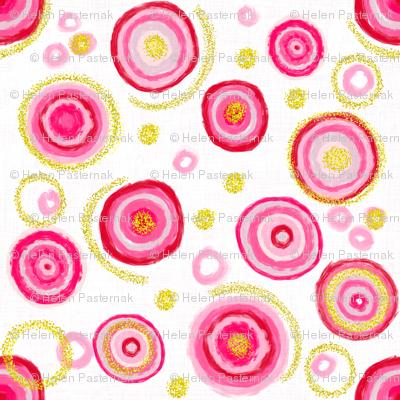Bauhaus Pink Blooms with Gold Pollen (white)