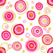Bauhaus Pink Blooms with Gold Pollen (white)
