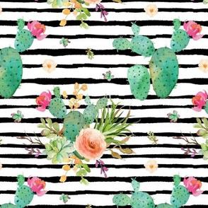 Paddle Cactus Floral – Black Stripe