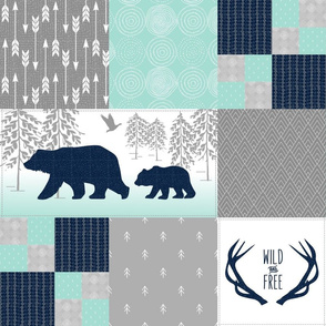 Bears Deer Antlers Wholecloth – Wild and Free Cheater Quilt – Navy Gray Mint Design