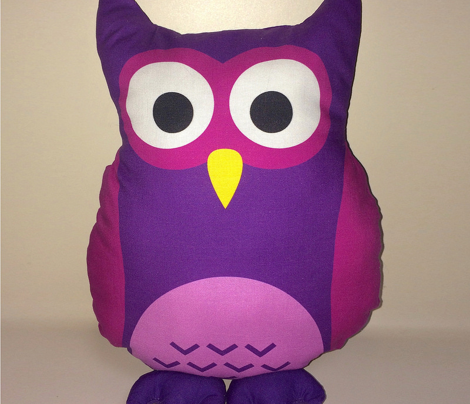 Olivia the Owl Cut and Sew Pillow Purple