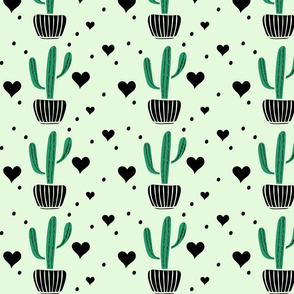 Cute cactuses and black hearts