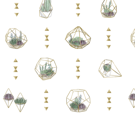 Geometric Succulents - Main White fabric by pouty_koala on Spoonflower - custom fabric