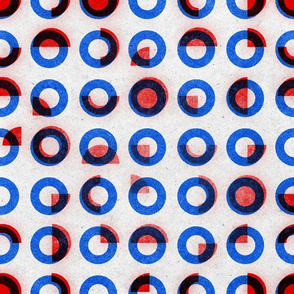 bauhaus print red blue rings