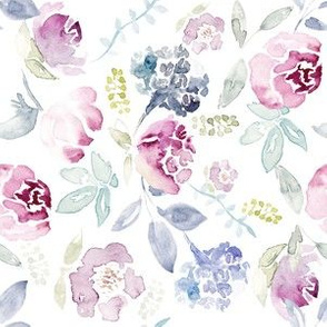 Watercolour Florals Vintage Faded Style on White MEDIUM 90° clockwise