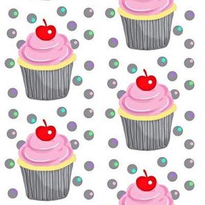 Strawberry Iced Cupcakes w/ cherry