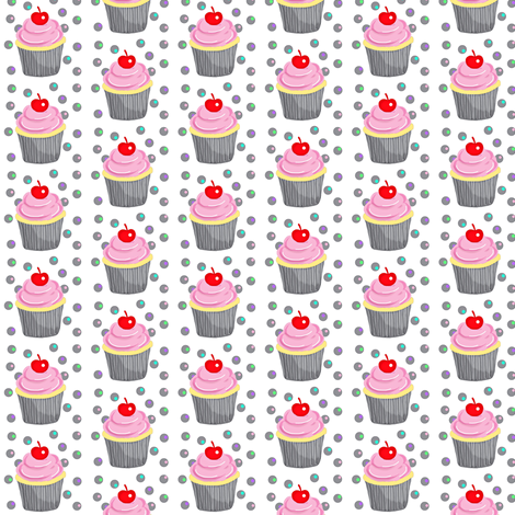 Mini Vanilla Cupcakes w/ Strawberry Frosting & Red Cherry  fabric by franbail on Spoonflower - custom fabric