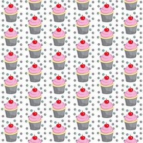 Mini Vanilla Cupcakes w/ Strawberry Frosting & Red Cherry