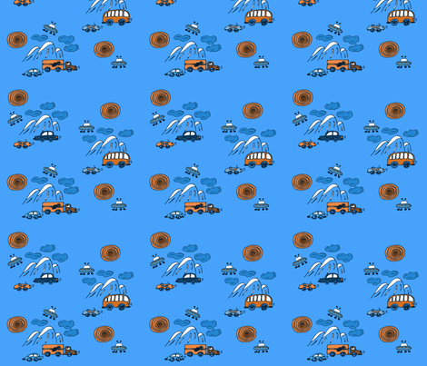 Machines in the mountains fabric by katrinkastem on Spoonflower - custom fabric