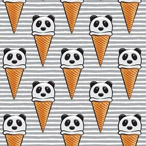 panda icecream cones on grey stripes