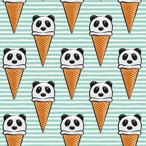 panda icecream cones on dark mint stripes