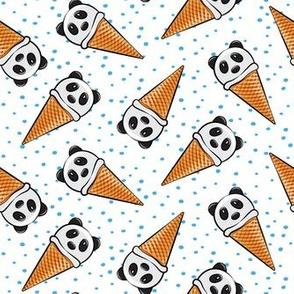 panda icecream cones - blue dots