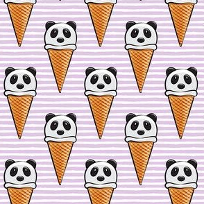 panda icecream cones on purple stripes