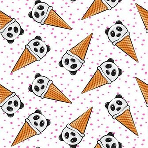 panda icecream cones - pink dots