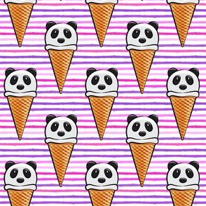 panda icecream cones on purple and pink stripes