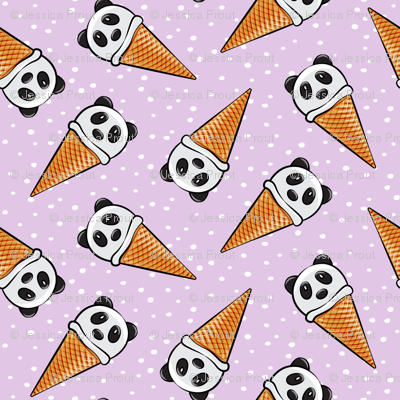 panda icecream cones - purple with dots