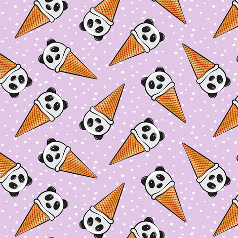 panda icecream cones - purple with dots fabric by littlearrowdesign on Spoonflower - custom fabric
