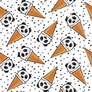 panda icecream cones - black dots