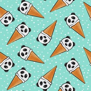 panda icecream cones - mint with dots