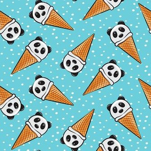 panda icecream cones - blue with dots