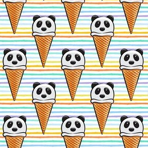 panda icecream cones on rainbow stripes