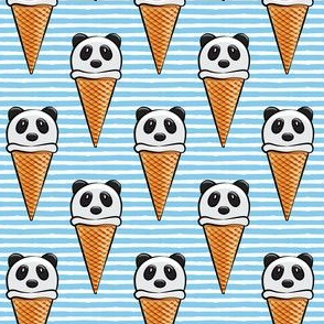 panda icecream cones on blue stripes