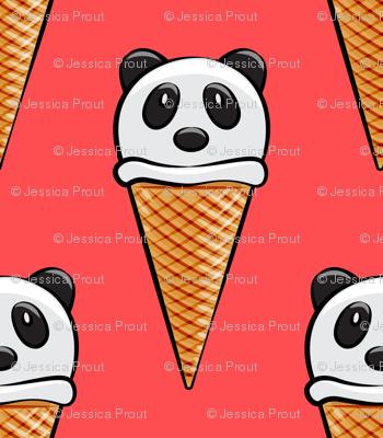 panda icecream cones on red