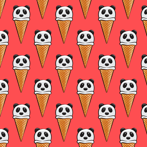 panda icecream cones on red fabric by littlearrowdesign on Spoonflower - custom fabric