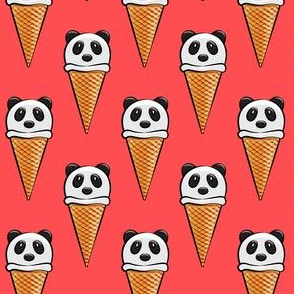 panda icecream cones on red