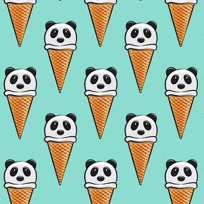 panda icecream cones on mint