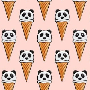 panda icecream cones on pink
