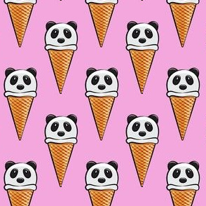 panda icecream cones on bright pink