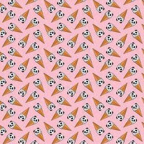 (extra small scale) panda icecream cones - pink with dots