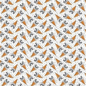 (extra small scale) panda icecream cones - black dots