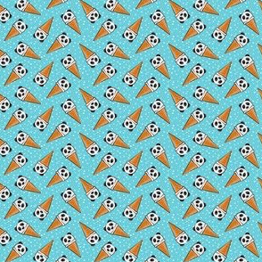 (extra small scale) panda icecream cones - blue with dots