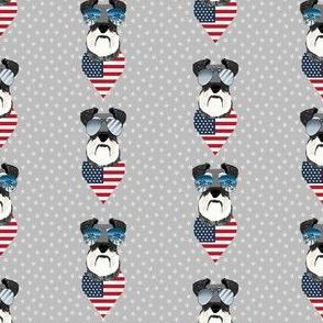schnauzer sunglasses usa july 4th patriotic dog fabric grey